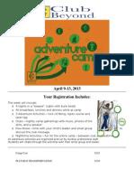 Adventure Camp 2013 Registration Packet