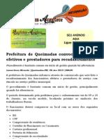 Prefeitura de Queimadas convoca servidores efetivos e prestadores para recadastramento