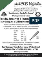 Peachtree Baseball 2013 Registration