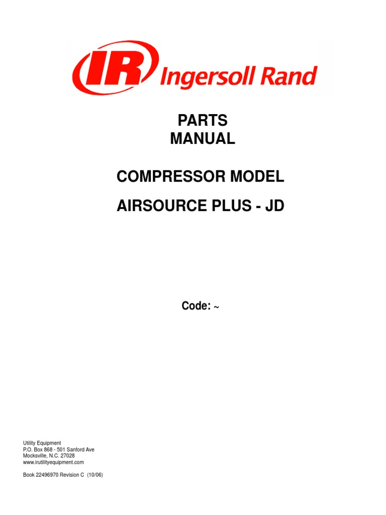 air source 185 jd ingersoll rand rh es scribd com Ingersoll Rand Compressor Parts Diagram Ingersoll Rand Parts and Service