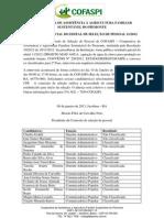 Resultado parcial do edital 011/2012