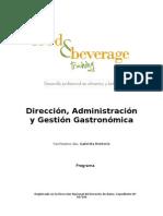 F&B - Programa Curso Direccion,Administracion y Gestion Gastronomica