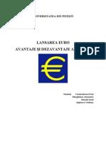 Avantaje si dezavantaje ale EURO