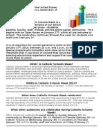 Purpose of Catholic Schools Week-For Bulletin