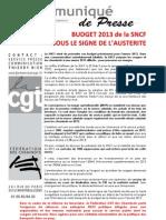 Budget 2013 de la SNCF sous le signe de l'austérité
