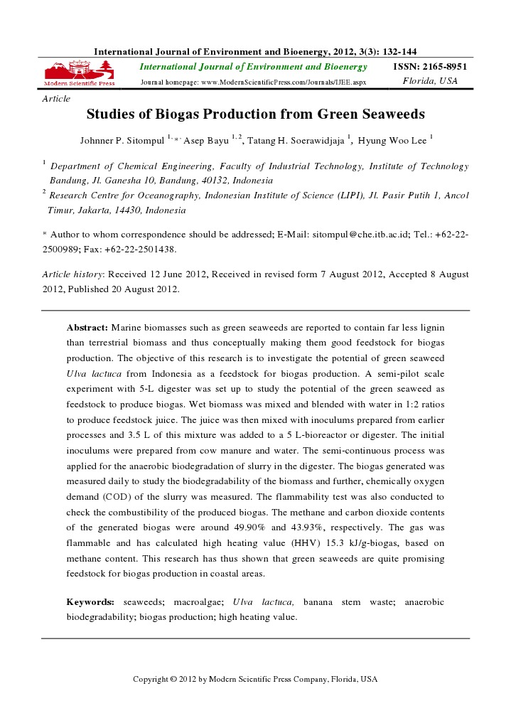 Studies of Biogas Production From Green