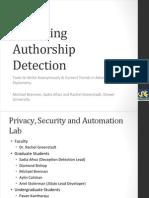 Deceiving Authorship Detection