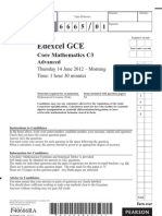 Edexcel GCE 2012 June Core Mathematics C3