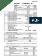 Listas de útiles Seventh Grade 2013