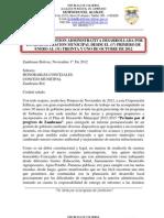 INFORME DE GESTION ADMINISTRATIVA DESARROLLADA POR LA ADMINISTRACION MUNICIPAL DESDE EL (1º) PRIMERO DE ENERO AL (31) TREINTA Y UNO DE OCTUBRE DE 2012
