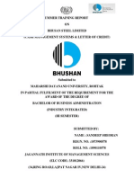 SUMMER TRAINING REPORTON BHUSAN STEEL LIMITED(CASH MANAGEMENT SYSTEMS & LETTER OF CREDIT)FOR BBA OR MBA STUDENTS