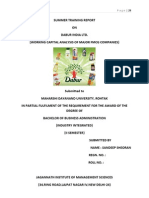 SUMMER TRAINING REPORTON DABUR INDIA LTD.(WORKING CAPITAL ANALYSIS OF MAJOR FMCG COMPANIES)FOR BBA AND MBA STUDENTS