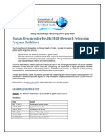 Human Resources for Health (HRH) Research Fellowship Program Guidelines