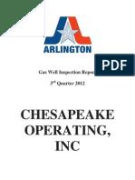 Gas Well Inspection Report (Chesapeake) 3rd Quarter 2012 Arlington, TX