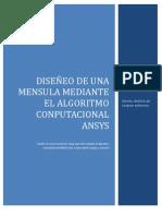 DISEÑO DE UNA MENSULA MEDIANTE EL ALGORITMO COMPUTACIONAL ANSYS