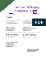 Golf Spring Schedule