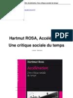 Hartmut Rosa Accélération du temps CR