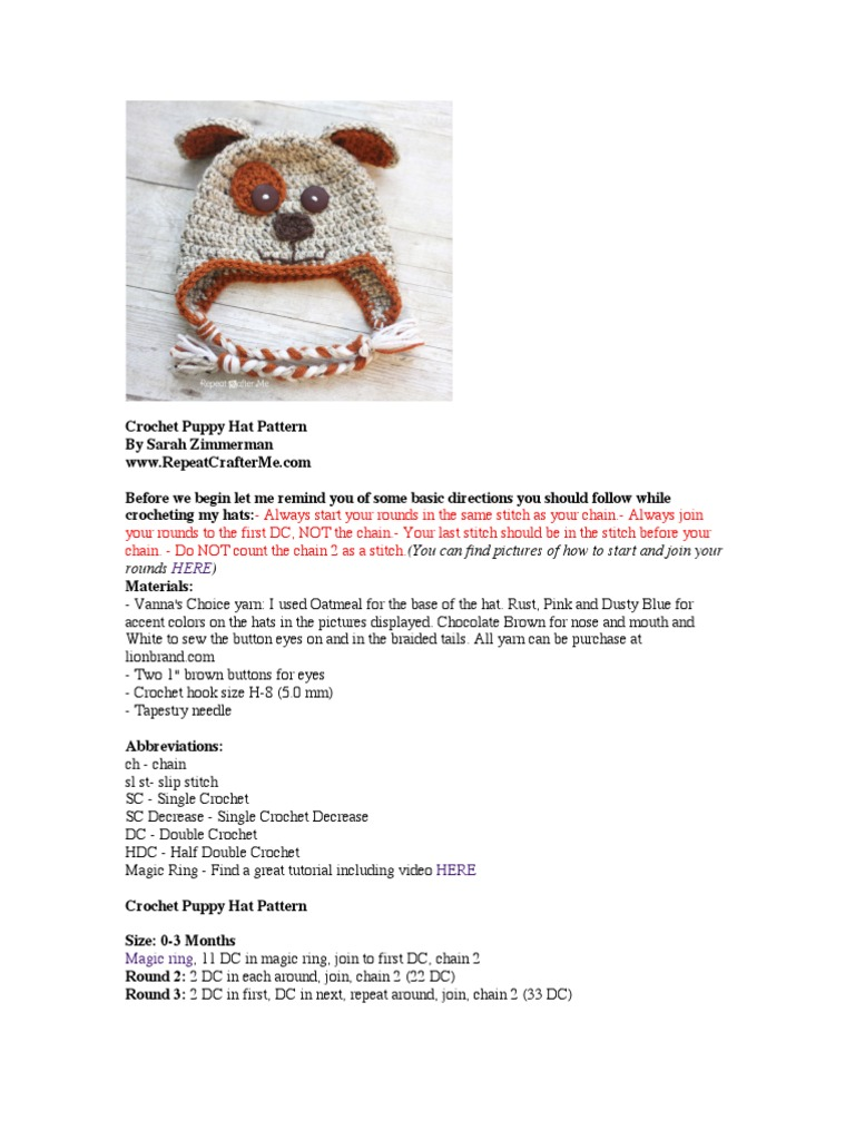 Crochet puppy hat pattern crochet crafts bankloansurffo Gallery
