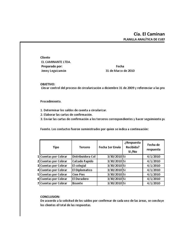 Dorable Plantilla De Extracto De Cuentas Por Cobrar Colección ...