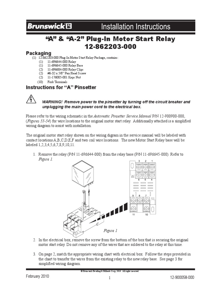 12 900058 000 Instruction Sheet Relay Electrical Connector Power Cord And Plug Labeled Diagram