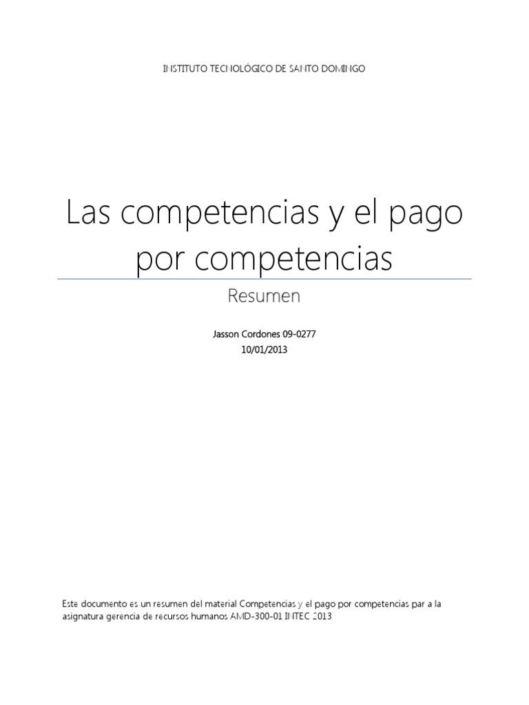 Resumen Competencias y El Pago Por Competencias