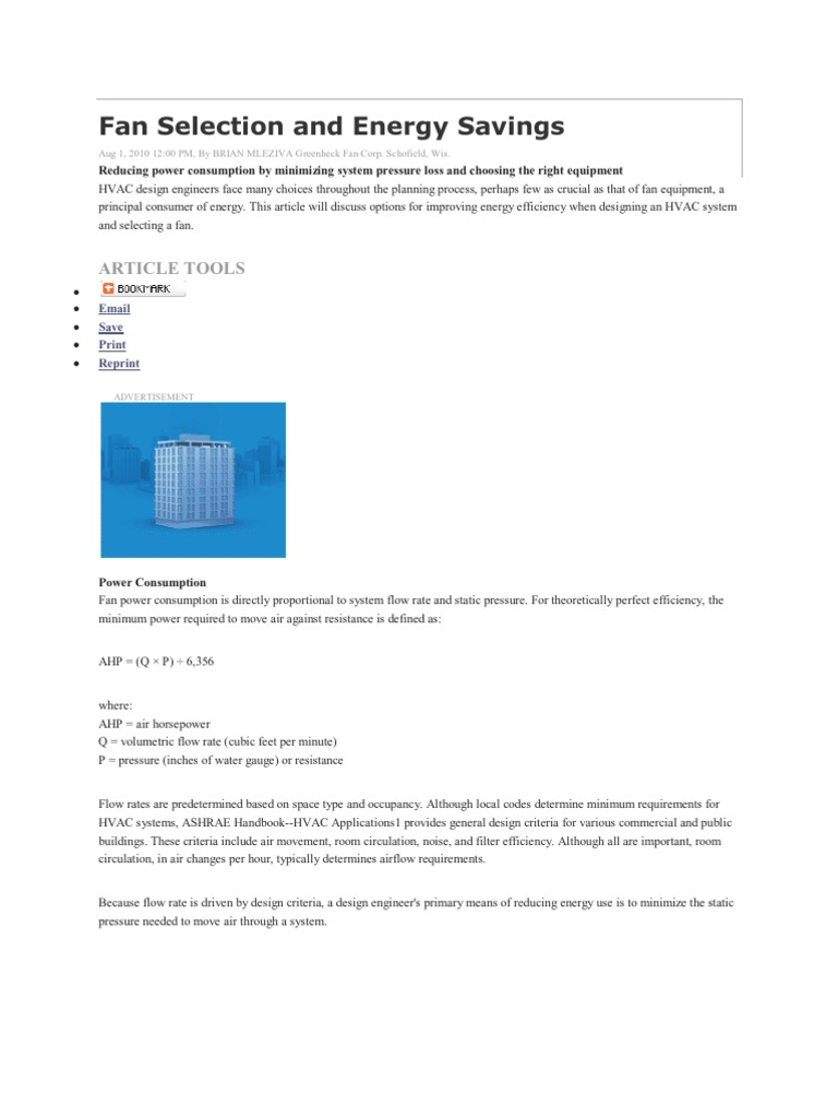 57530260 Fan Selection And Energy Savings Mechanical Pressure Hvac Power Draw