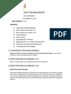 STEELHEAD APPLIANCE RIOS VERSION: 7 0 5b | Proxy Server