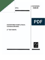Norma COVENIN 1040-89. Extintores Portátiles