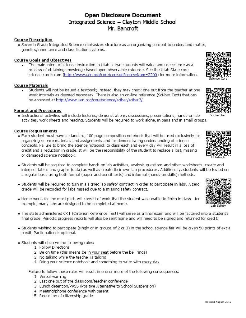 Workbooks responsibility worksheets for middle school : integrated science open disclosure 20112 2013 | Test (Assessment ...