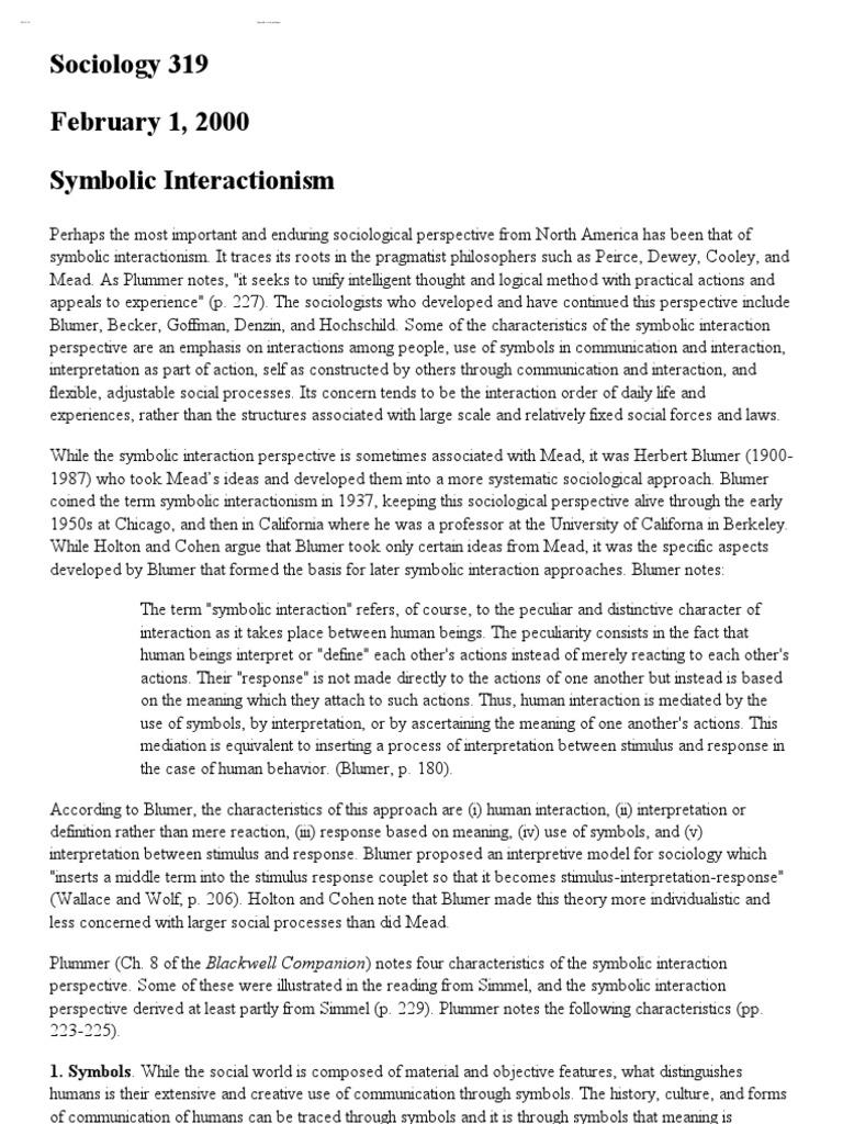 Symbolic Interactionism Sociology Behavioural Sciences