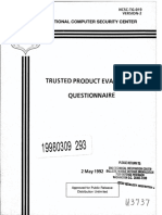 NCSC-TG-019-V2 Trusted Product Evaluation Questionnaire (Blue Book)