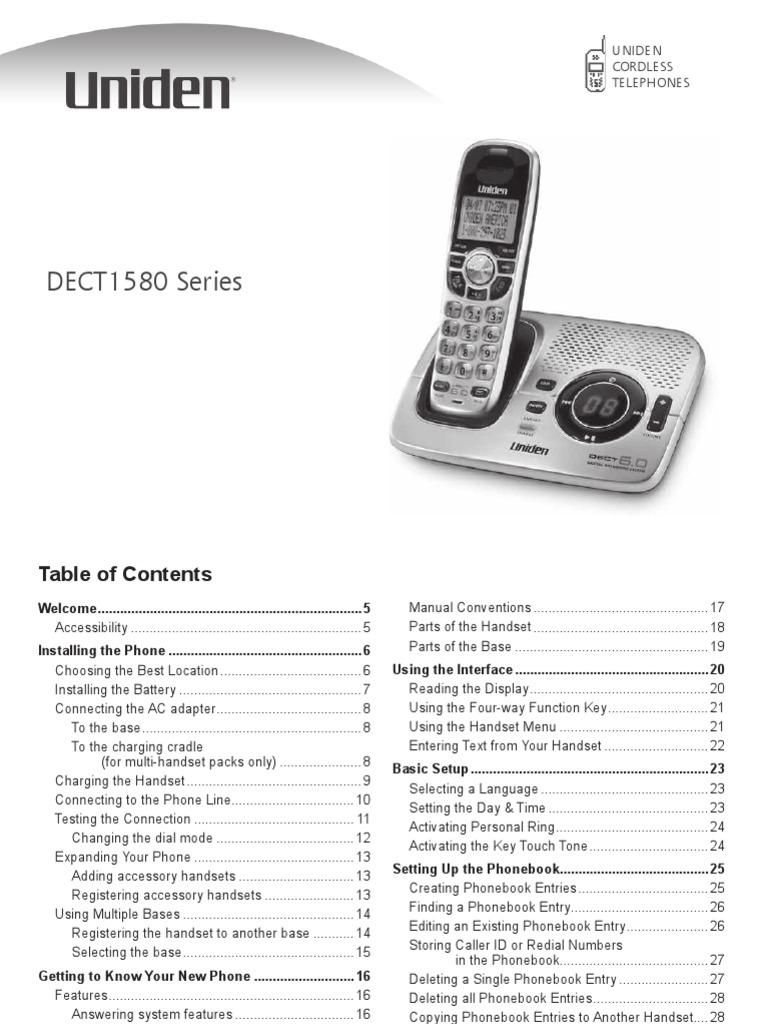 uniden dect 6 0 dect1580 2 manual telephone telecommunications rh scribd com uniden dect1580 manual Uniden DECT1580 Manual