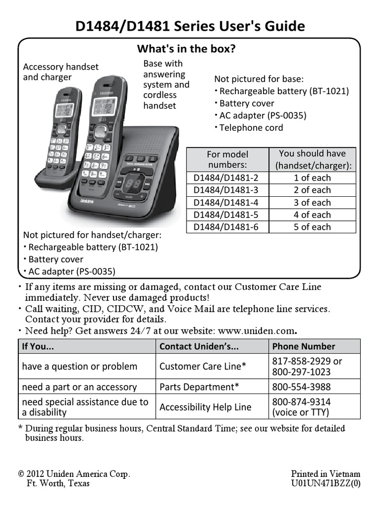 uniden dect 6 0 d1484 d1481 manual telephone battery charger rh scribd com Phone Manual for a Uniden Cordless Phone DECT 6 0 Uniden Cordless Phones with Answering Machine