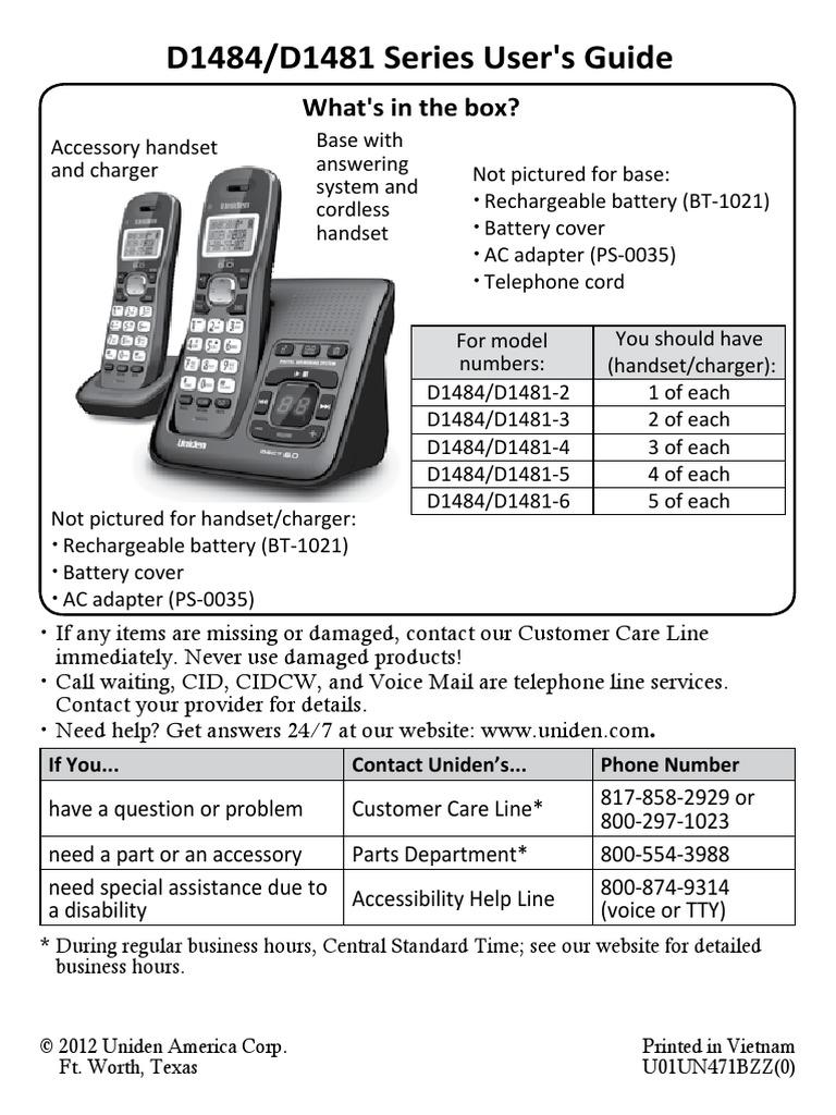 uniden dect 6 0 d1484 d1481 manual telephone battery charger rh scribd com AT&T DECT 6.0 Manual AT&T DECT 6.0 Manual
