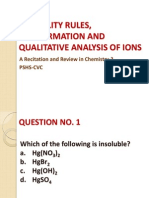 Solubility Rules and Qualitative Analysis