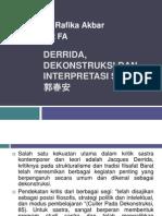 Derrida, Dekonstruksi Dan Interpretasi Sastra