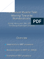 The Manual Muscle Test Moving Towards Standardization