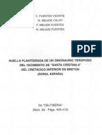 Huella plantigrada de un dinosaurio teropodo del yacimiento de santa cristina II del cretacico inferior en bretun, soria. España