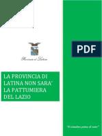 Documento Sottoscritto Dai Sindaci Della Provincia Di Latina e Dal Consiglio Provinciale. 11.1.2013
