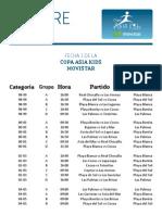 Fixture Primera Fecha. Copa Asia Kids Movistar