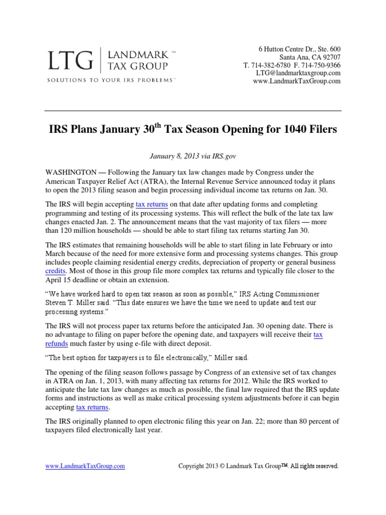 IRS Plans Jan 30th Tax Season Opening for 1040 Filers | Internal ...
