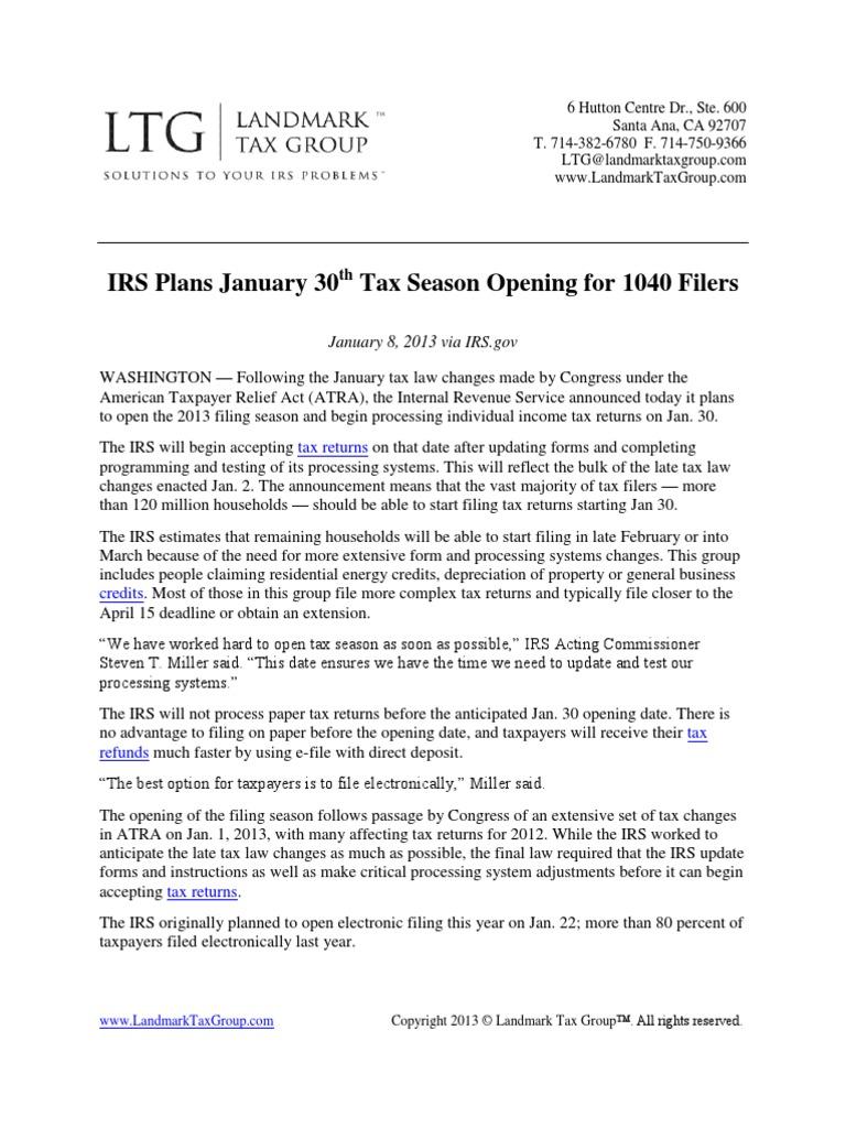 IRS Plans Jan 30th Tax Season Opening for 1040 Filers | Internal ...
