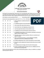 WYLC 2013.01 Parent Survey