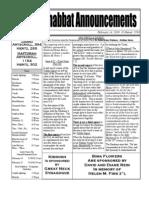 Shabbat Announcements, February 14, 2009