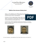 Baltimore Police Press Release