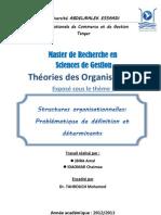 Problématique de définition de la structure organisationnelle