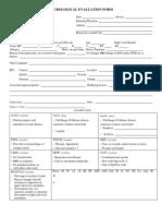 Neurological Evaluation Form