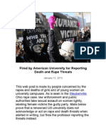 American University Professor Fired for Reporting Rape & Death Threats