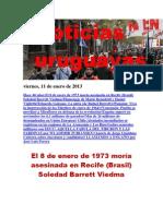 Noticias Uruguayas viernes 11 de enero del 2013