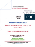 """PLAN TERRITORIAL EN SALUD 2012-2015 """"PROTEGIDOS CON AMOR"""""""